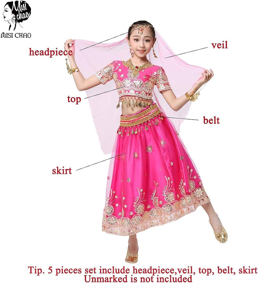Belly Dancing Chiffon Costume Belly Dance Spiral Long 3 Layers Skirt Top Belt