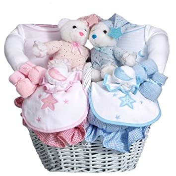 Amazon baby shower gift basket for twin babies boy and girl baby shower gift basket for twin babies boy and girl pink and blue negle Gallery