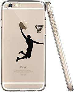 LEECOCO iPhone 6S Case, iPhone 6 Case Ultra Thin Clear Soft Transparent TPU Flexible Slim Skin Soft Cover for Apple iPhone 6 / 6S 4.7 inch, (Black Basketball Man)