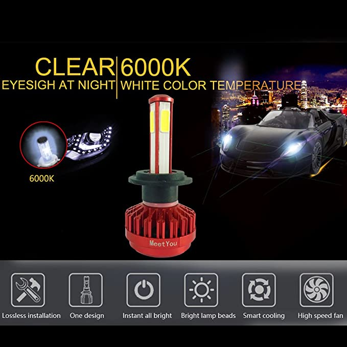 Amazon.com: MeetYou 12000LM LED Headlights Bulbs Car Lights Fog Lamp H76000K 12V LED Lighting 360 Degree 4 Side Emitting, 1 Year Warranty: Automotive