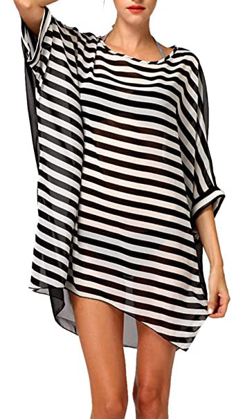 f252288869 DQdq Sexy Women s Oversized Striped Beach Bikini Swimwear Cover-up at  Amazon Women s Clothing store