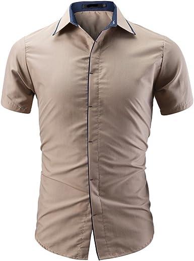Berimaterry Camisa Casual Cuadrados con Botones Manga Corta para Hombre Color Sólido Oxford Manga Corta Botón de Abajo Camisa de la Camisa para Hombre Deportiva Casual Chaleco Gimnasio Manga Corta: Amazon.es: Ropa