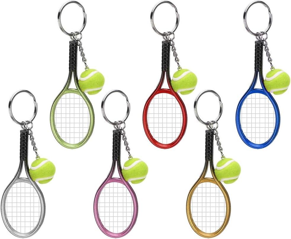 Mini Llavero de Tenis, Exquisito Mini Llavero de Raqueta de Tenis de 6 Piezas, para Bolsa de Equipaje