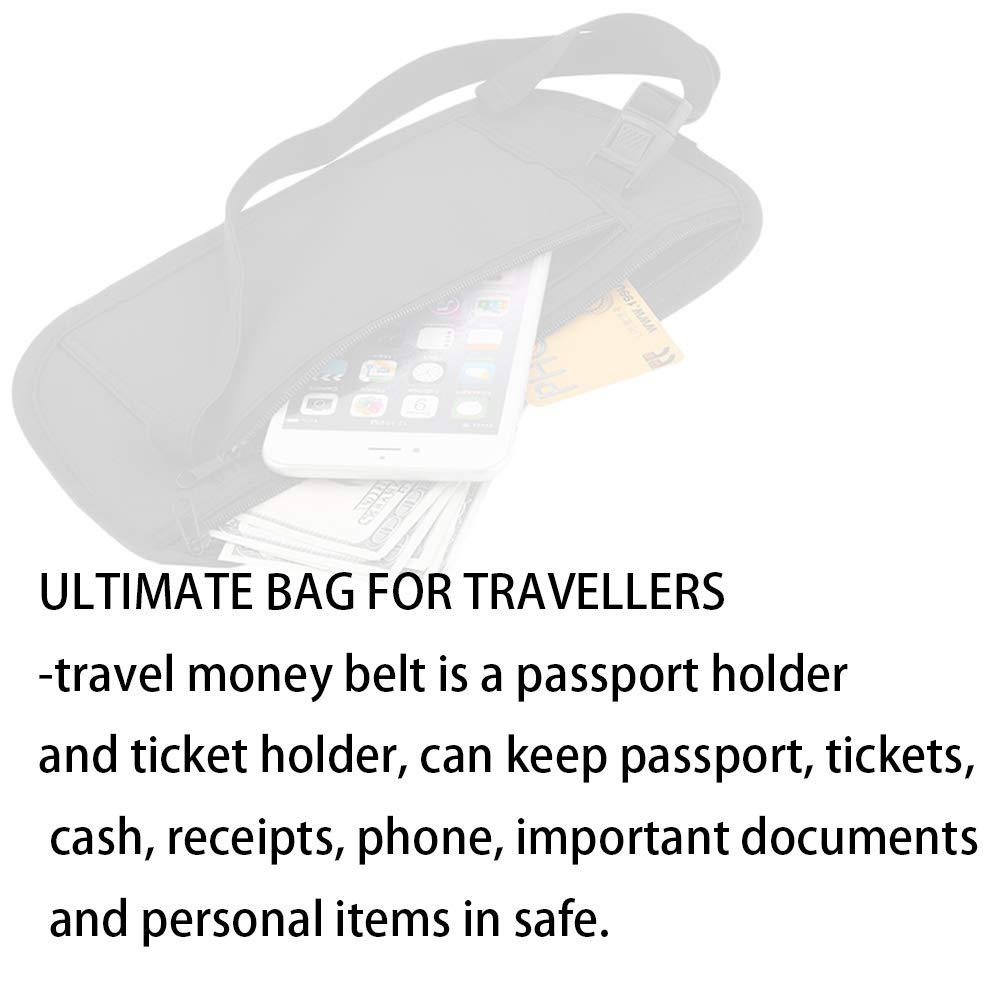 Beige Xiton 1 PC Argent Voyage Ceinture Portable Taille Portefeuille Porte-Passeport Porteur dargent Confortable pour lext/érieur Travelling Course