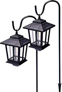 AIRIBO 37.4 Inch Metal Hanging Solar Lights 20 Lumen, Aluminum Solar Pathway Lights Anti-Rust Waterproof with 2 Shepherd Hooks Outdoor Decorative, Solar Lights for Garden Deck Pathway, 2 Pack