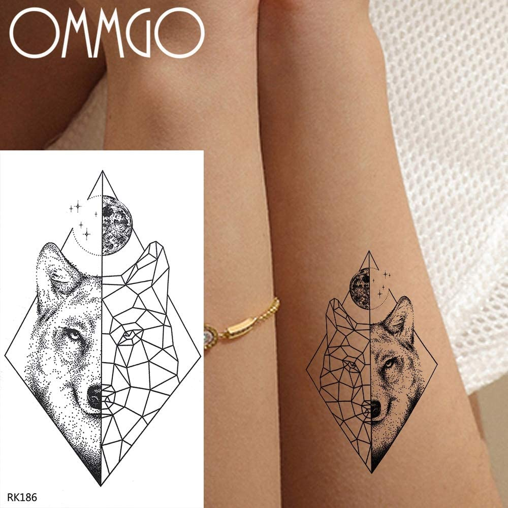 Yyoutop Geométrica Luna Perro Lobo e Tatuajes para Niños Etiqueta ...