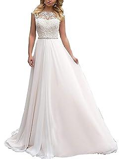 Jaeden Brautkleid Lang Hochzeitskleider Spitze Strand Damen