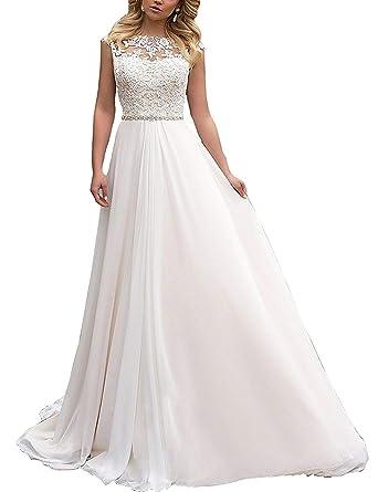 Yasiou Elegant Hochzeitskleid Damen Lang Hochzeitskleider Spitze