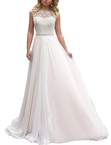 online retailer f2e30 d18c9 YASIOU Elegant Hochzeitskleid Damen Lang Hochzeitskleider Spitze Chiffon  Brautmode Rückenfrei Weiß Vintage Spitze A Linie Brautkleid Abendkleider