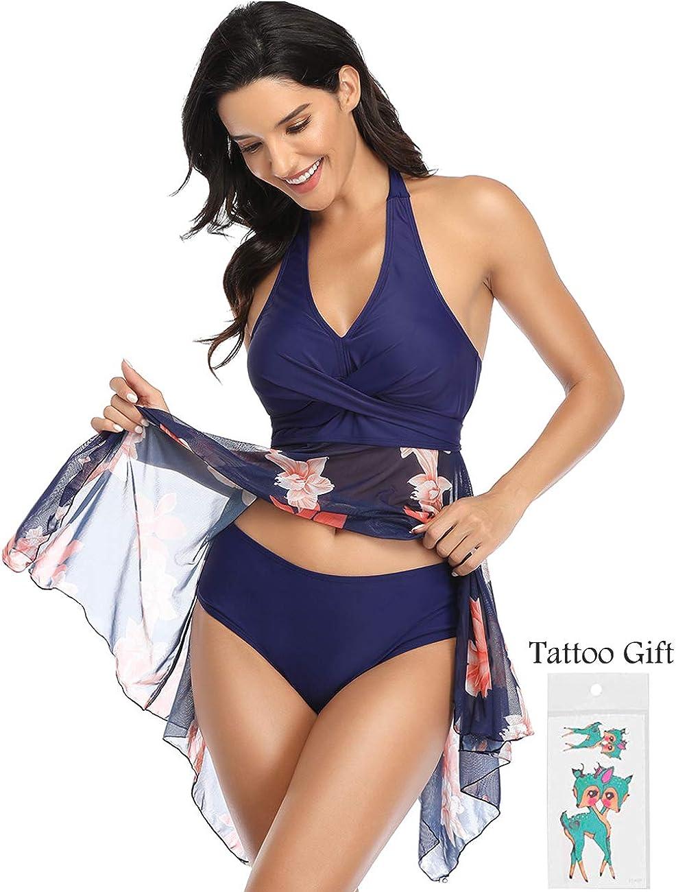Donne Costume da Bagno Tankini Gonna Bikini Set Beachwear Push Up Halter Swimsuit da Mare Spiaggia Piscina