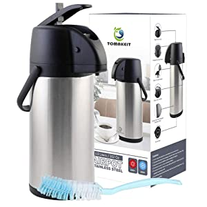 TOMAKEIT Airpot Coffee Carafe Thermos 3L(102 Oz) Insulated Stainless Steel Large Beverage Dispenser Lever Action For Hot/Cold Water