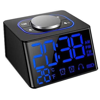 XJYA Reloj Despertador Digital Radio FM Inteligente Reloj termometro Despertador de Pantalla LED Radio Reloj Perezoso