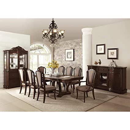 Benzara Bm171332 Traditional Birch Wood Dining Table With Curved