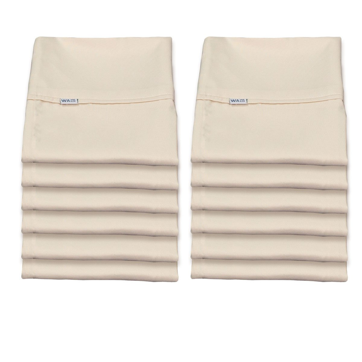Pack of 12 Pillowcases with Piping - Hotel Collection - Microfiber - Light Beige, Standard (20 x 30) Waga