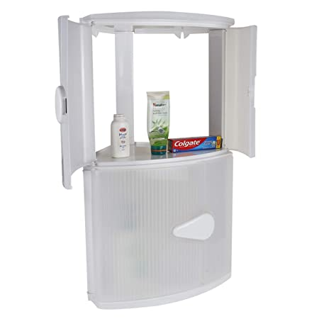 CIPLAPLAST Double Door Corner Cabinet Shelf   WHITE   BRC   704