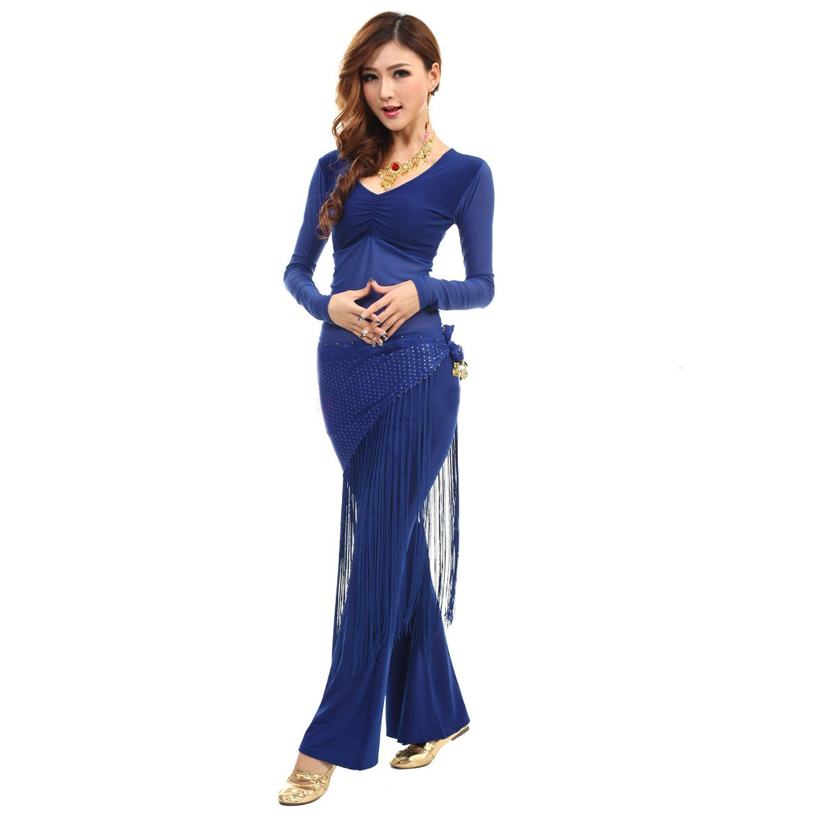 VENI MASEE Langarmshirt Belly Dancing Top und Hose, mit Quaste Bling Hip Schals, Preis/Set Preis / Set - blau R-G-2HSF-1097_Blue
