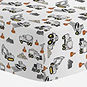 Carousel Designs Construction Trucks Crib Sheet - Organic 100% Cotton Fitted Crib Sheet - Made in the USA