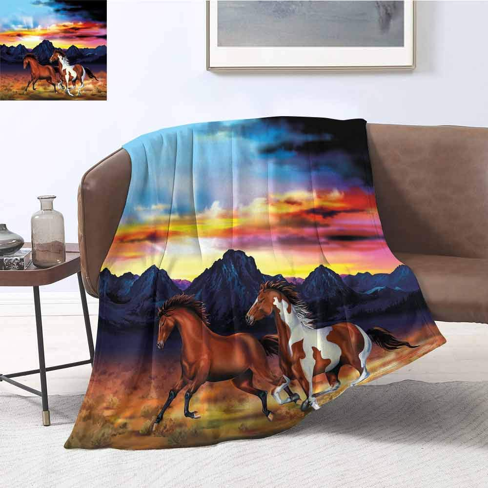 "Mademai Western Patterned Blanket Running Wild Horses at Sunset Artistic Rustic Landscape Colorful Sky Illustration Super Soft Warm Blanket 60""x50"" Multicolor"