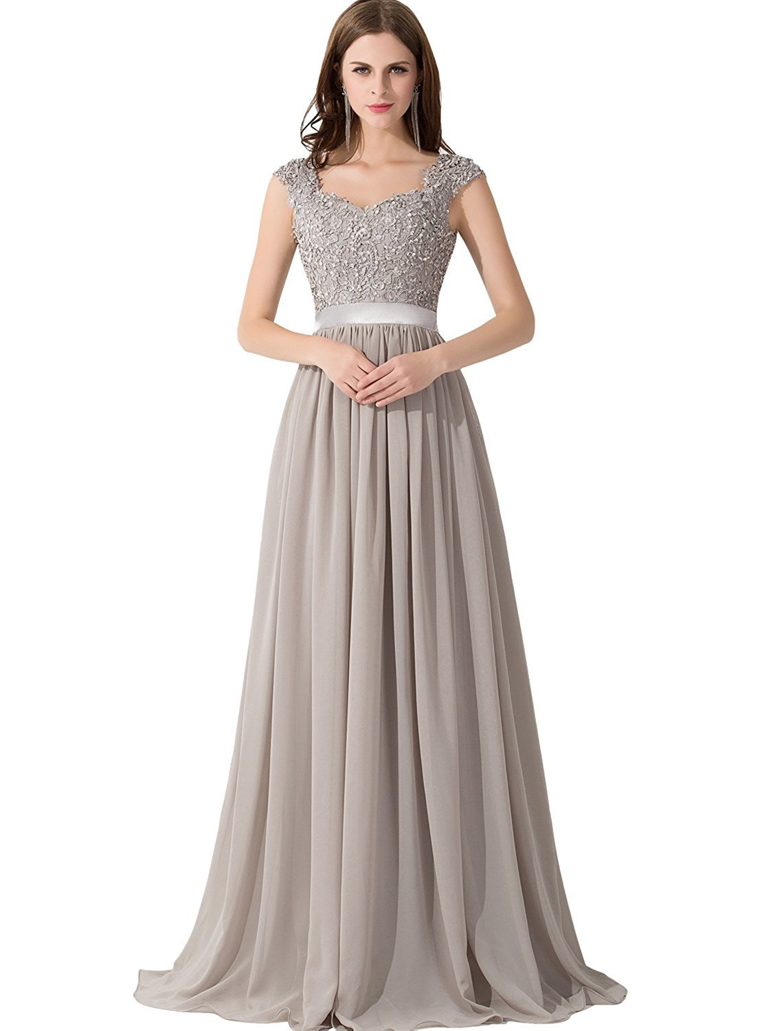 5328a0b3679138 Galleon - Womens Lace Chiffon Long Bridesmaid Dress For Wedding  Party