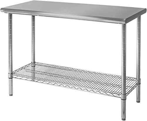 Seville Classics Stainless Commercial-Grade Work Table Steel Wire Shelf Kitchen NSF-Certified Storage