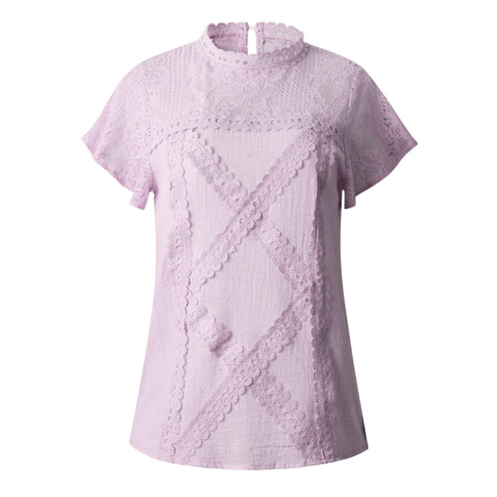 Women Lace Patchwork Shirts Flare Ruffles Short Sleeve Cotton Blouse T Shirt Casual Loose Tunic Tops Plus Size Yamally
