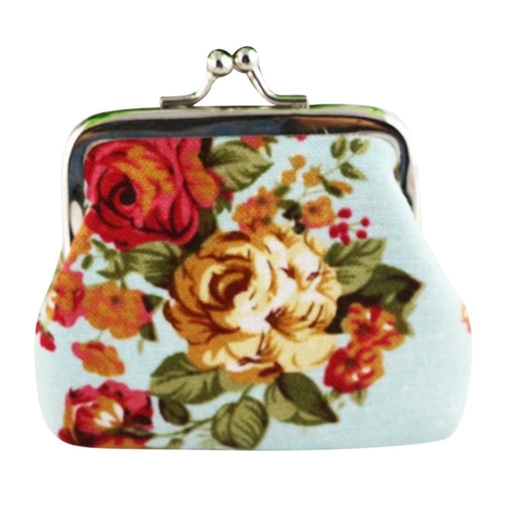 Geldbörse Geldbeutel Handtasche Tasche Portemonnaie Segeltuch Brieftasche Frauen Dame Retro Weinlese Blumen Kleine Hasp Purse Clutch Bag Sunday (9cm, hellblau)