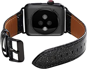 ALADRS Bling Leather Watch Straps Compatible with Glitter Apple Watch Band 38mm 40mm, Shiny Sparkly Wristbands Replacement for iWatch Series 6 5 4, SE (40mm) Series 3 2 1 (38mm), Black
