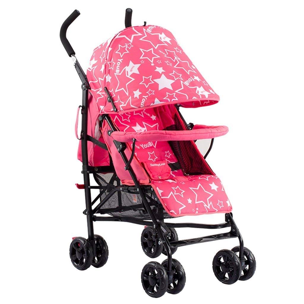 Kinderwagen Babywagen Ultraleicht Tragbar Kann Sitzen Liegen Faltbar Vier Runden Kostenlos Aufblasbar Dämpfung Kind Wagen Nicht Entfernbares Kissen Dreipunkt-Sicherheitsgurt Mit Einkaufsk-rot