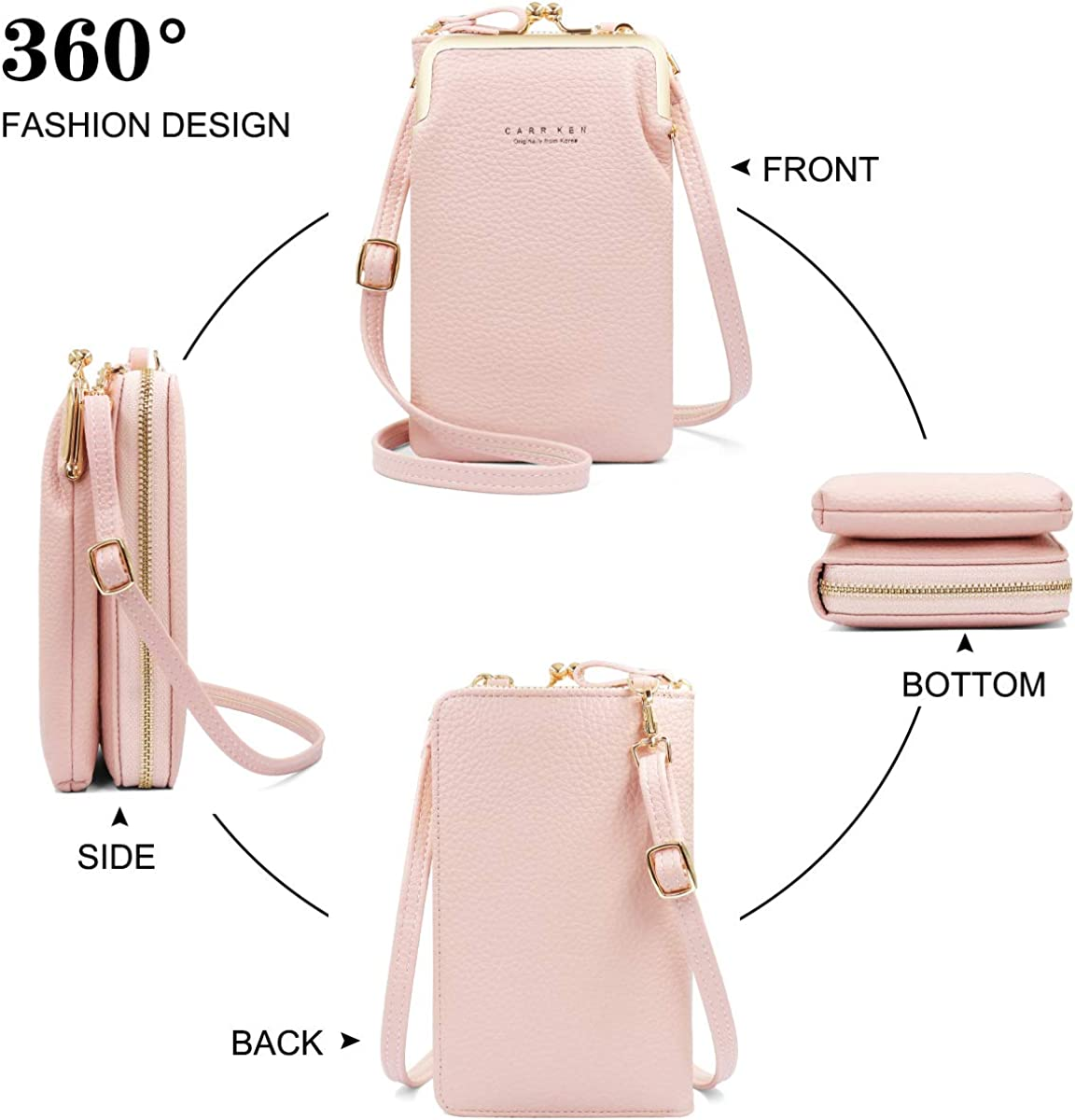 PU Leather Mini Phone Bag and Wallet with Strap Card Slots HNOOM Crossbody Cell Phone Bag Women Cross Body Phone Bag