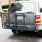 """ARKSEN Folding Cargo Carrier Luggage Basket 2"""" Receiver Hitch (60"""" x 25"""" inch) Camp Travel Fold Up SUV Camping, Black"""