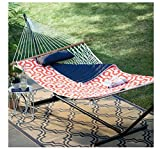 Island Bay 11 ft. Cotton Rope Double Hammock with Metal Stand Deluxe Set - Orange/Navy - For Two - Comes with iPad and Drink Holder with 1 Year Manufacturer Warranty!