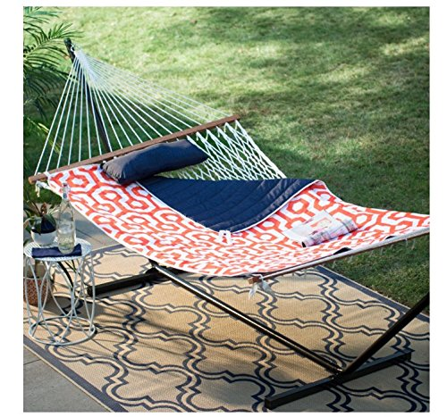 - Island Bay 11 ft. Cotton Rope Double Hammock with Metal Stand Deluxe Set - Orange/Navy - For Two - Comes with iPad and Drink Holder with 1 Year Manufacturer Warranty!