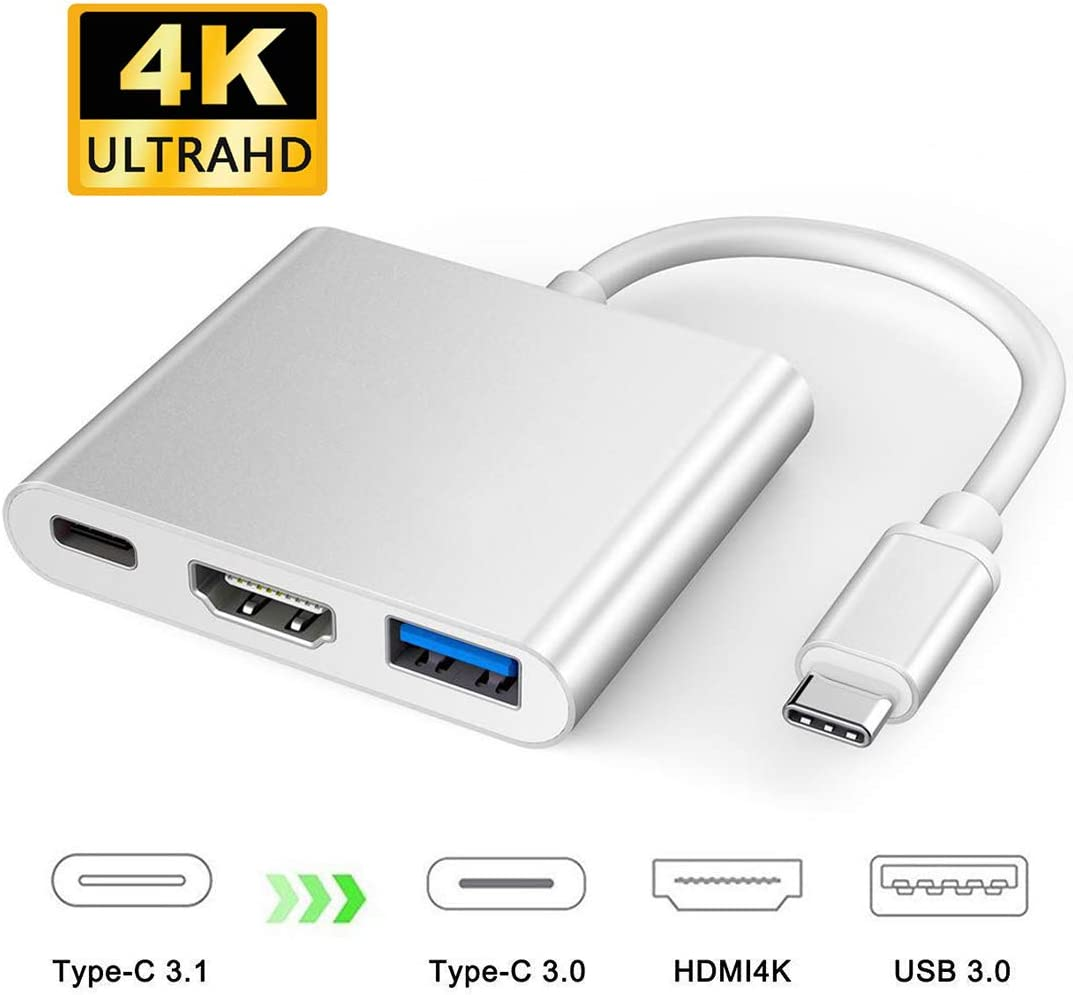 XVZ USB C to HDMI 4K Multiport Adapter, 3 in 1 Type C Hub with USB 3.0 + USB C Charging Port Digital Converter Compatible for MacBook/Chromebook Pixel/Dell XPS13/Samsung Galaxy s8/s8 Plus (Silver)