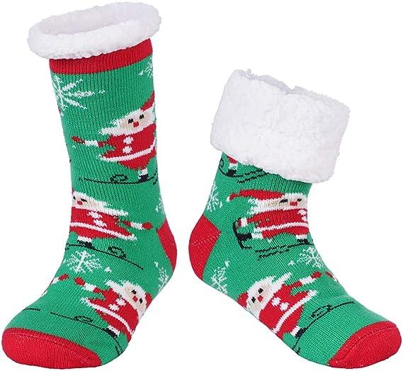 Men Women Slipper Socks Fleece Lined Thicken Winter Thermal Warm Stretch YI
