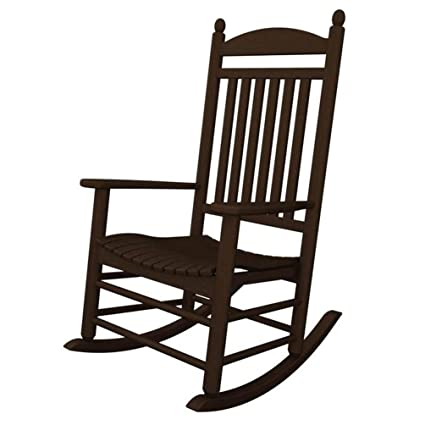 POLYWOOD Outdoor Furniture Jefferson Rocker, Mahogany Recycled Plastic  Materials