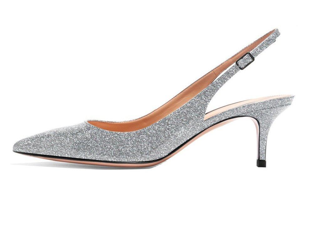 ELASHE - Zapatos de Tacón Clásicos Espigones con Hebillas y Tiras en la Parte Trasera para Mujer 35-45 EU 42 EU|Glitte Plata
