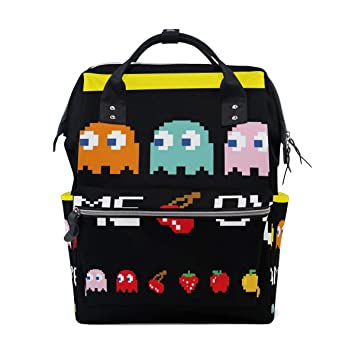 aa39aeec674d Amazon.com : Pacman Game Diaper Bag Mummy Dad Tote Backpack Travel ...