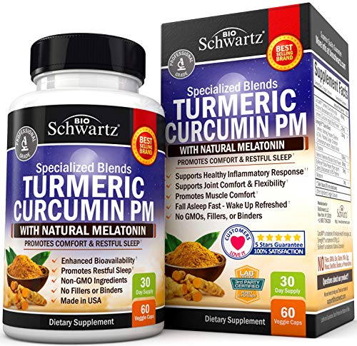 Turmeric Curcumin Sleep Aid with Melatonin - Natural Sleeping Pills with Valerian Root & L Theanine for Insomnia - Promotes Relaxation & Restful Sleep - Formulated for Joint Relief with Bioperine ()