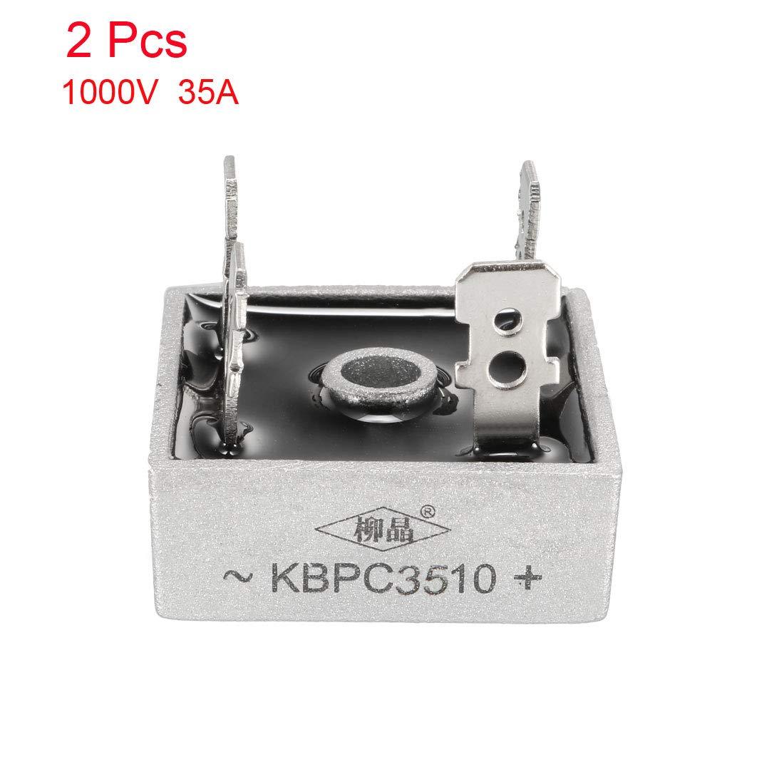 sourcing map Kbpc3510 1000V 35A Puente Rectificador Monof/ásico De Media Onda Gris 2Pcs