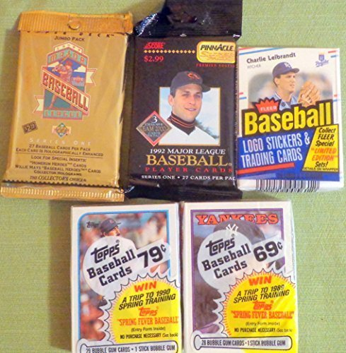 1993 Upper Deck Mlb Card (100+ Vintage Baseball Cards Lot In Sealed Unopened Cello Jumbo Packs 1988 1989 Topps 1988 Fleer 1992 Pinnacle and 1993 Upper Deck)
