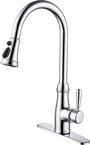 Guukar Pull Down Kitchen Faucet Single Handle Stainless Steel Kitchen Sink Faucet with 3 Modes Pull Out Sprayer, Sleek Chrome