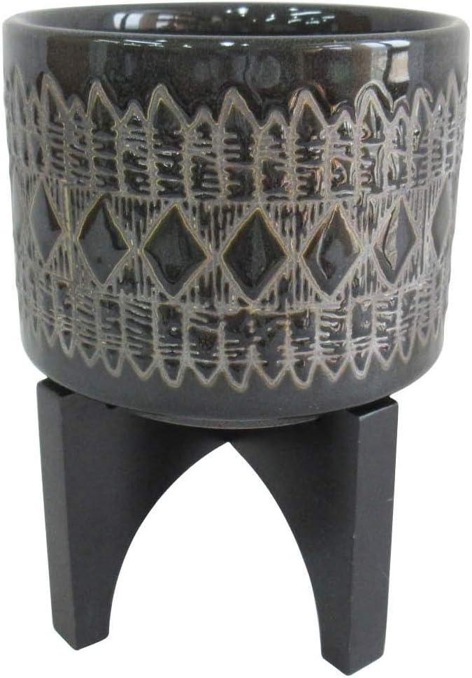 "Amazon Brand – Rivet Global Stoneware Planter with Black Wood Stand, 7""H, Black Glaze"