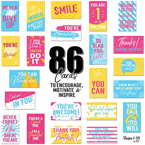 86 Pack Inspirational, Motivational, Encouragement & Appreciation Mini Note Cards by Tiny Love Cards - Variety Set - Business Card Size Gratitude & Kindness Notes (Business Cards Note)