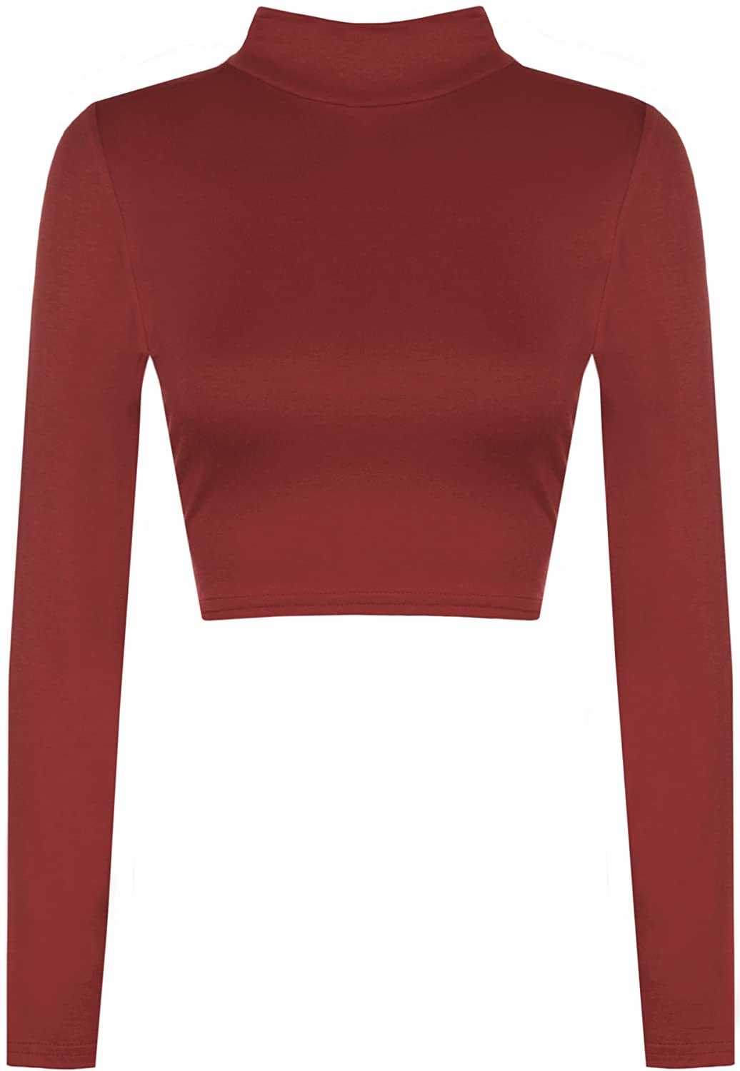 WearAll Womens Turtle Neck Crop Ladies Long Sleeve Plain Polo Short Stretch Top Sizes 8-14 31249