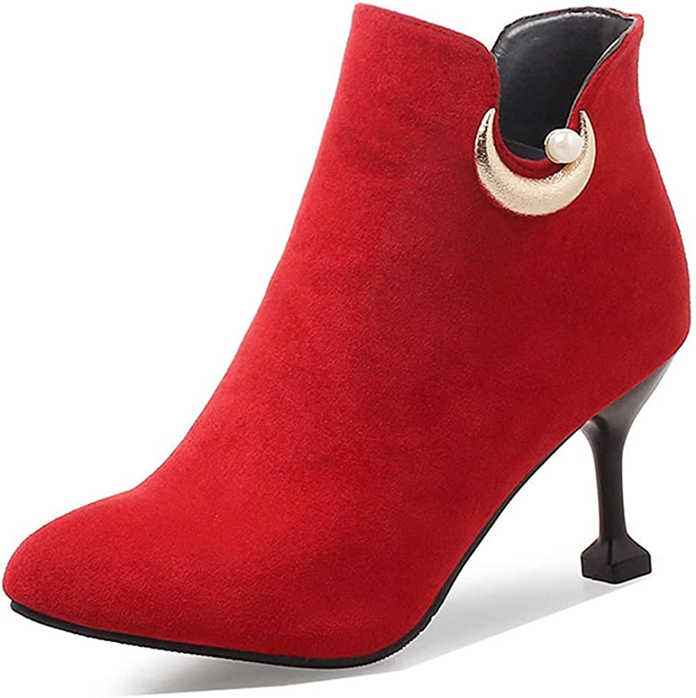 Beaded Cutout Inside Zip Up Stiletto High Heel Booties Womens Chic Pointed Toe Ankle Boots with Zipper