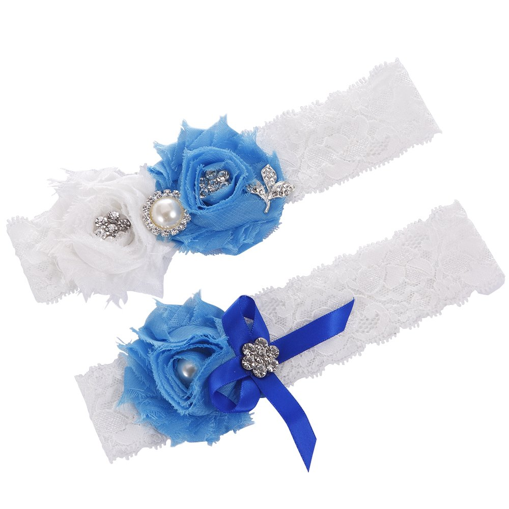 FAIRY COUPLE Bridal Garter White Lace with Flowers & Perle A-G028 (X-Small/ 16 Inches, Blue)
