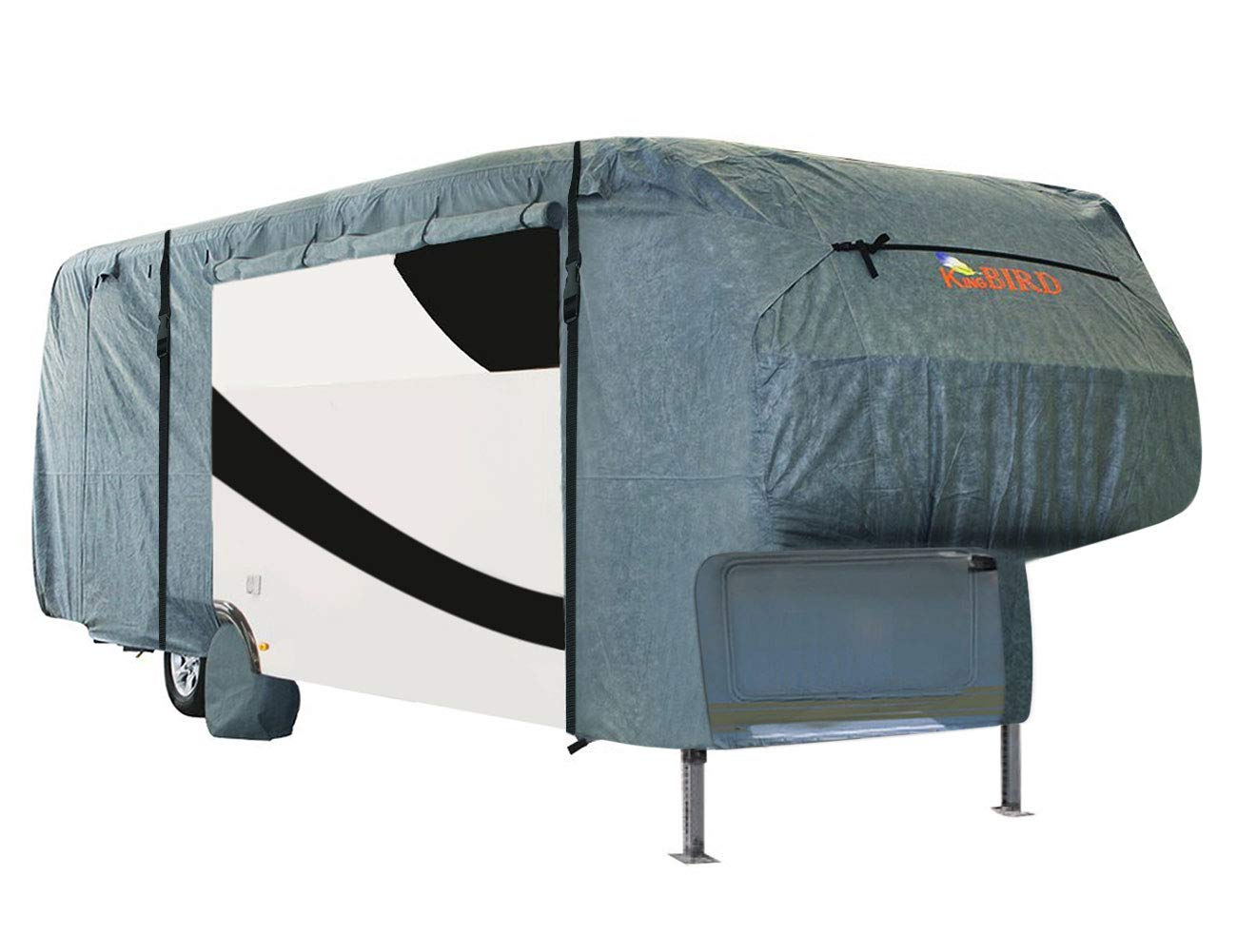 26-29New Breathable Water-Repellent Rip-Stop Anti-UV with Storage Bag KING BIRD Extra-Thick 4-Ply Top Panel /& 4Pcs Tire Covers Deluxe 5th Wheel RV Cover Fits 26/'-29/' RV Cover
