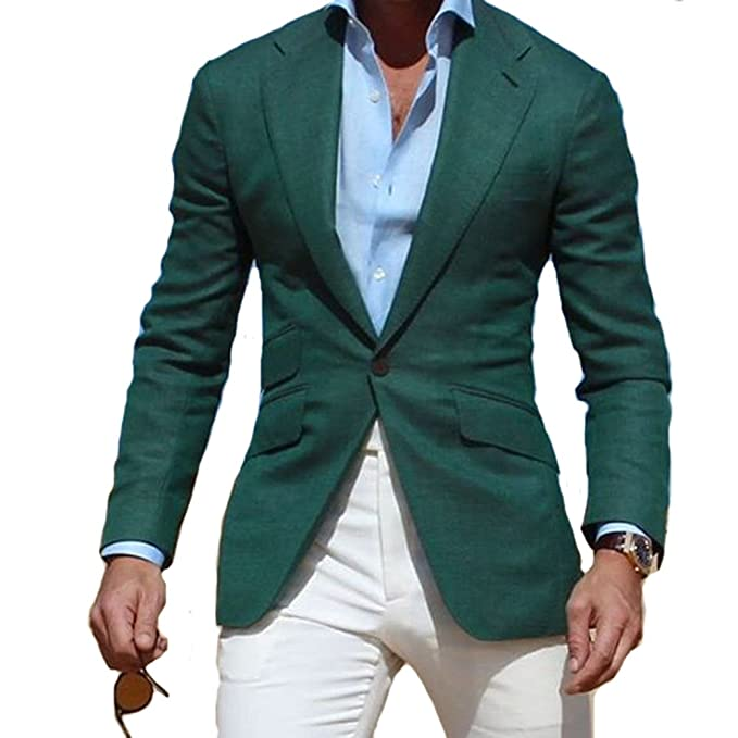 Dark Green Jacket with Ivory Pants Casual Men Suit Party Prom Vestidos (Jacket+Pants