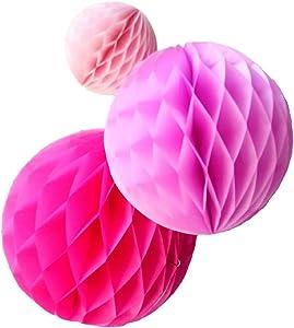 Daily Mall 15Pcs 3 inch 6 inch 8 inch Paper Honeycomb Balls Party Pom Poms Paper Balls Partners Design Art Craft Hanging Pom-Pom Ball Party Wedding Birthday Nursery Decor (Pink Set)