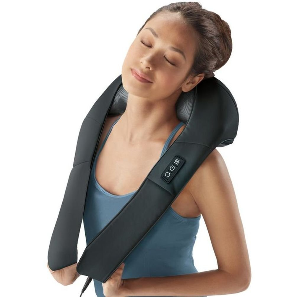Brookstone Shiatsu Neck and Back Massager with Heat, 4.4 Pound